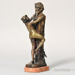 After Claude Michel Clodion (French, 1738-1814)    Bronze Figure of a Lady Before a Herm