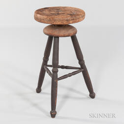 Black-painted Adjustable Windsor Stool