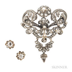 Diamond Pendant/Brooch and Earrings