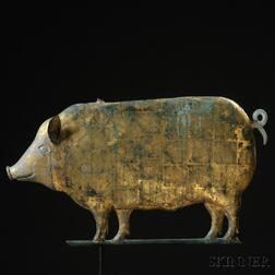 Gilt Molded Copper and Cast Zinc Pig Weathervane