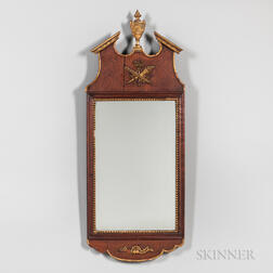 Continental Walnut and Giltwood Mirror