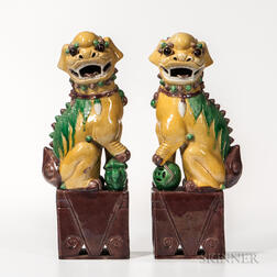 Pair of Sancai-glazed Shishi