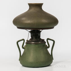 Green Handel Shade on Hampshire Pottery Lamp Base