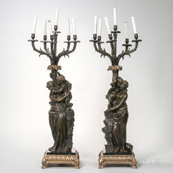 Pair of Patinated and Gilt-bronze Figural Candelabra