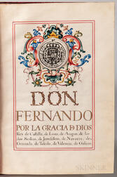 Ferdinand VI, King of Spain (1713-1759) Signed Grant of Nobility for Don Manuel Cantero, 3 September 1753.