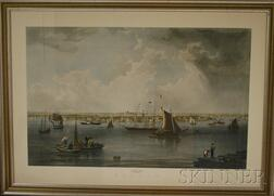Eleven Framed Mostly Hand-colored Reproduction Boston and New England View Prints