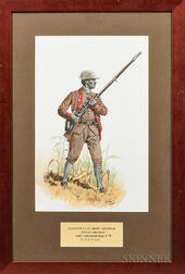 Framed Original Don Troiani Watercolor Figure Study of an African American, 3rd Connecticut Regiment