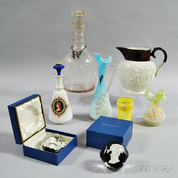 Eight Pieces of Glass and Pottery