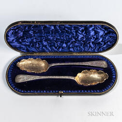 Boxed Pair of William IV Sterling Silver Fruit Spoons