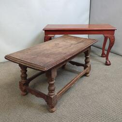 Chippendale-style and Jacobean-style Mahogany and Maple Low Tables