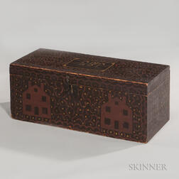 """Paint-decorated Box with Houses """"E.B.T.,"""""""
