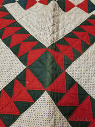 "Pieced and Appliqued Cotton ""Wild Goose Chase"" Quilt"
