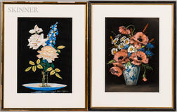 Mae Bennett Brown (American, 1887-1973)    Two Floral Still Lifes: Roses and Delphinium