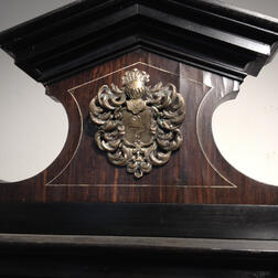 Flemish-style Ebony Silvered Metal and Marble Inlaid Collector