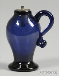 Cobalt Blue Free-Blown Whale Oil Lamp