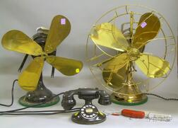 """Two Vintage Electric Oscillating Table Fans, a Western Electric Rotary Telephone,   and a Minox """"Spy"""" Camera"""