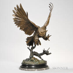 After Jules Moigniez (French, 1834-1894)    Later Bronze Model of an Owl in Flight