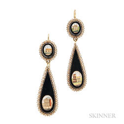 Gold and Micromosaic Earpendants