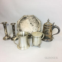 Six Sterling, Silver-plate, and Pewter Tableware Items