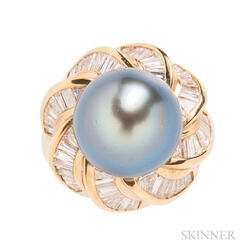 18kt Gold, Tahitian Pearl, and Diamond Ring