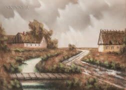 Danish School, 20th Century      Framed Pastel Landscape