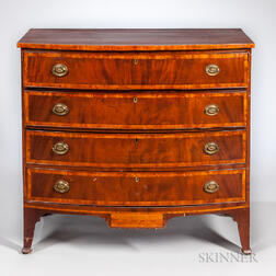 Mahogany and Mahogany Veneer Inlaid Bow-front Chest of Drawers