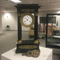 Black Marble Portico Mantel Clock