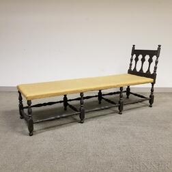 William and Mary-style Turned and Black-painted Maple Daybed