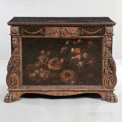 Baroque-style Painted Leather Chest