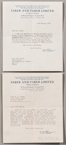 Eliot, Thomas Stearns (1888-1965) Two Typed Letters Signed, 1955, 1957; and Other Material.