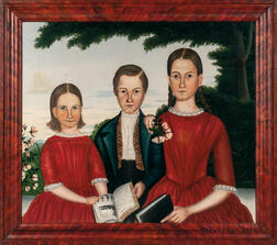 American School, 19th Century      Triple Portrait of Children