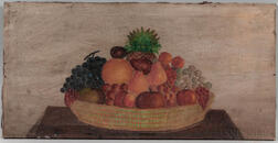 American School, 19th Century      Still Life Basket of Fruit