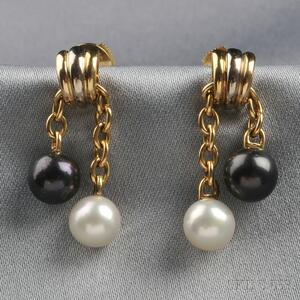 18kt Tricolor Gold and Cultured Pearl Earpendants, Cartier