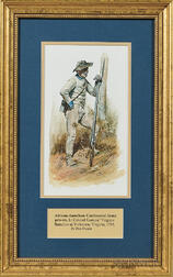 Original Framed Don Troiani Watercolor Figure Study of an African American, Gaskins' Virginia Battalion