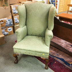 Chippendale-style Upholstered Mahogany Wing Chair