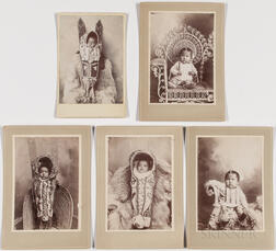 Five Cabinet Card Photos of Kiowa Infants and Children