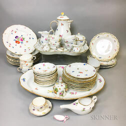 Approximately 100 Pieces of Meissen Floral-decorated Porcelain Tableware.