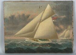 William G. Yorke (New Brunswick, Anglo/American, 1817-c. 1888)  Portrait of the Cutter Melvina   in a Yacht Race.