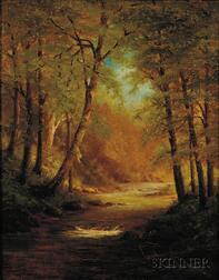 Attributed to Worthington Whittredge (American, 1820-1910)      Woodland River
