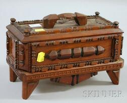 Small Tramp Art Notch-carved Wooden Footed Box with Cover