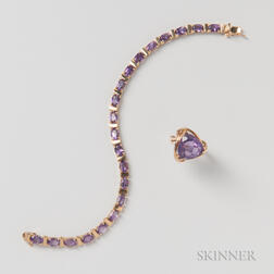 14kt Gold and Amethyst Bracelet and Ring