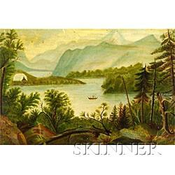 American School, 19th Century  Hudson River Scene with Tent and Fisherman.