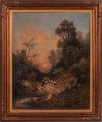 Barbizon School, 19th/20th Century      Herder and Sheep on a Wooded Path at Sunset