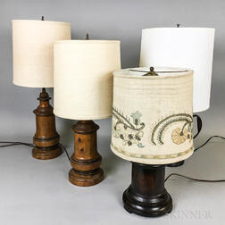 Four Turned Wood and Tole Lamps