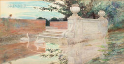 Anglo-American School, 19th/20th Century      Garden Pool with Swans