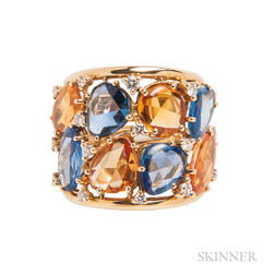 18kt Gold, Sapphire, Orange Sapphire, and Diamond Ring
