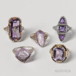 Five 14kt White Gold and Amethyst Filigree Rings