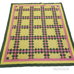 """Pair of Pieced Cotton """"Double Irish Chain"""" Quilts"""