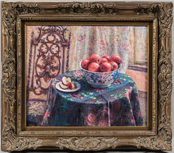 American School, 20th Century      Still Life with Bowl of Apples on a Floral Tablecloth