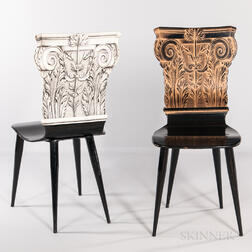Two Piero Fornasetti Corinthian Capital Chairs